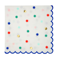 Holiday napkins with gold foil stars. Perfect for holiday party and celebrations of all ages.