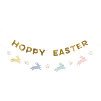Hoppy Easter garland in pastel colors with gold foil letters