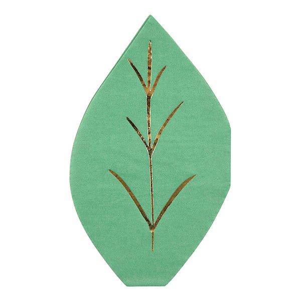 green napkin die-cut into the shape of a leaf with embossed gold foil details