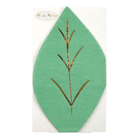 Green napkins die cut in the shape of a leaf, enhanced with gold embossed foil, pack of 16 napkins, 6.00 per pack