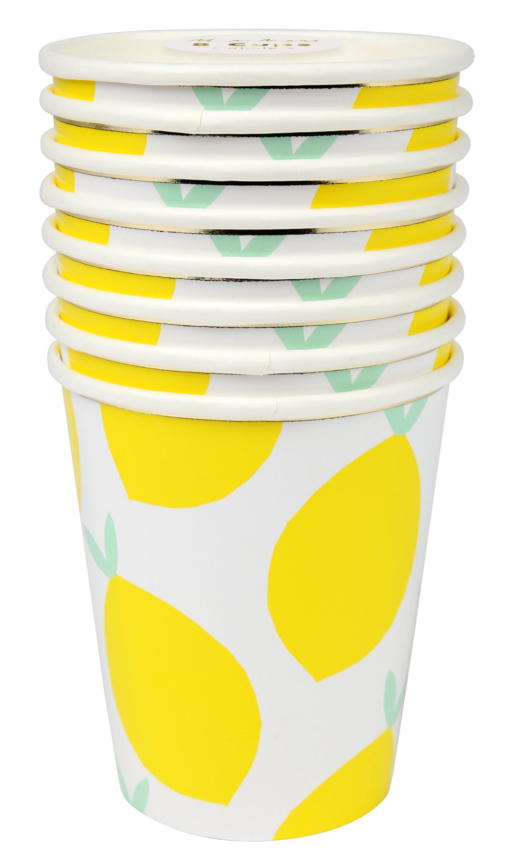 white cup with a bright yellow lemon print embellished with a gold band at the brim of each cup, set of 8, for use with hot and cold beverages, 9 ounces, $5.95 pack of 8