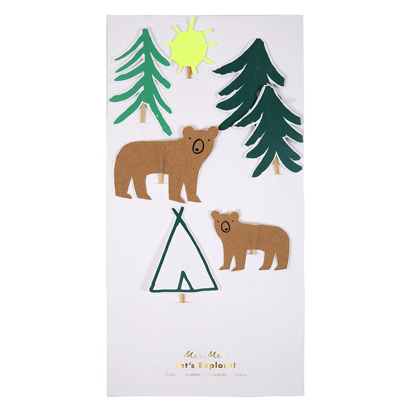 Pine trees, bears and sunshine. Cake topper outdoor forest theme is perfect as summer and winter cake decorating and party decor.