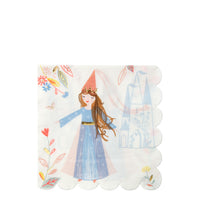 princess paper party napkins featuring illustrations of a magical kingdom and beautiful princess.Pack of sixteen napkins.