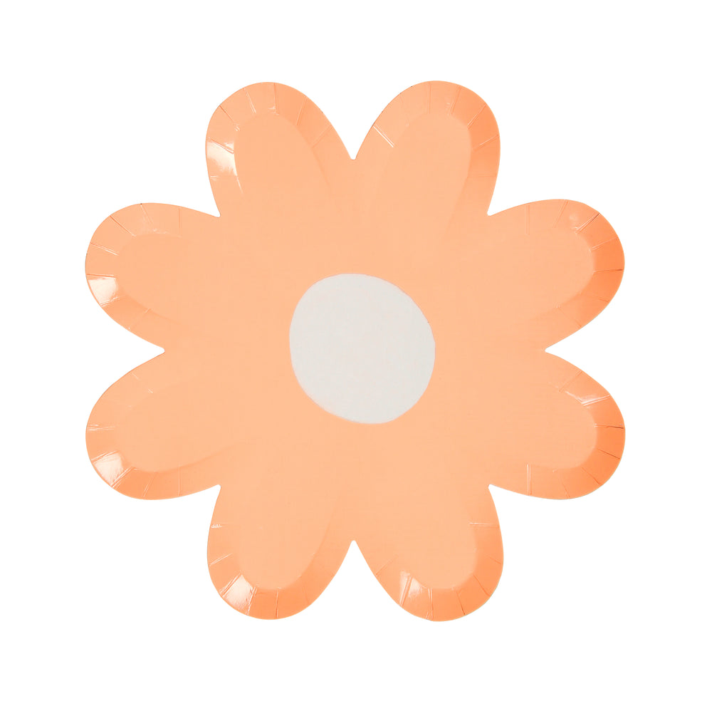 daisy plate in pastel coral with a white center, large plate size