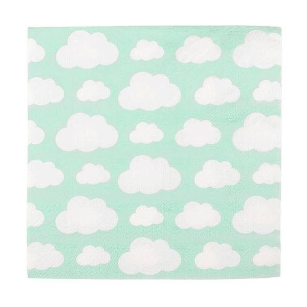pale green square napkin with white cloud print