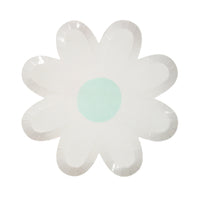 white daisy plate with aqua center, large size plate