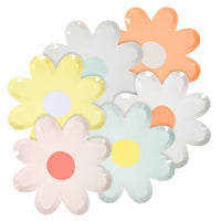"daisy shaped plates in a modern interpretation of a daisy resembling a "" 1960's flower power""  flower. pack of twelve plates in assorted pastel combinations, two of each."