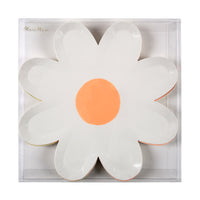 box of twelve large daisy plates in assorted pastel  color combinations.