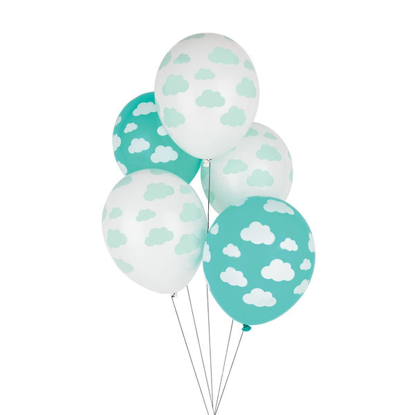 latex party balloons, turquoise, white, set of five balloons
