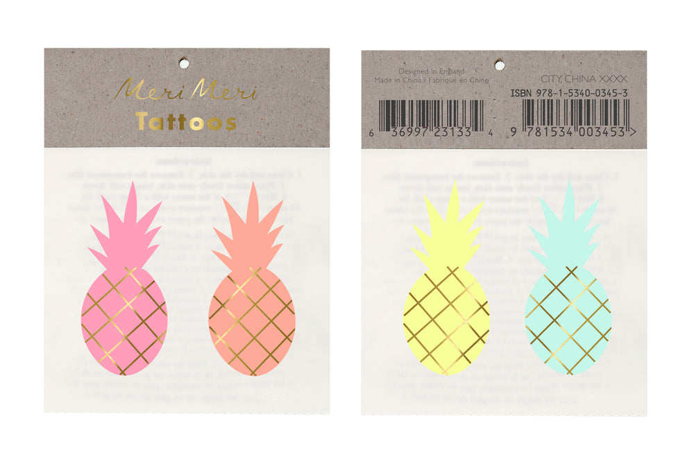 Pineapples Temporary Tattoos