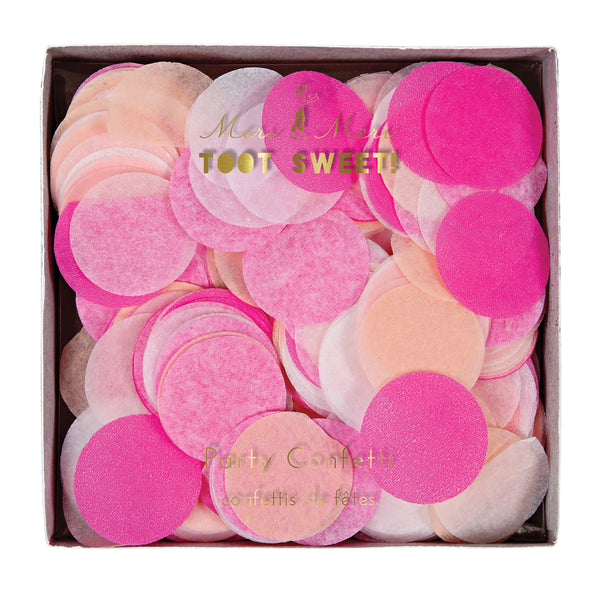 Assorted pink, peach and white one inch round confetti