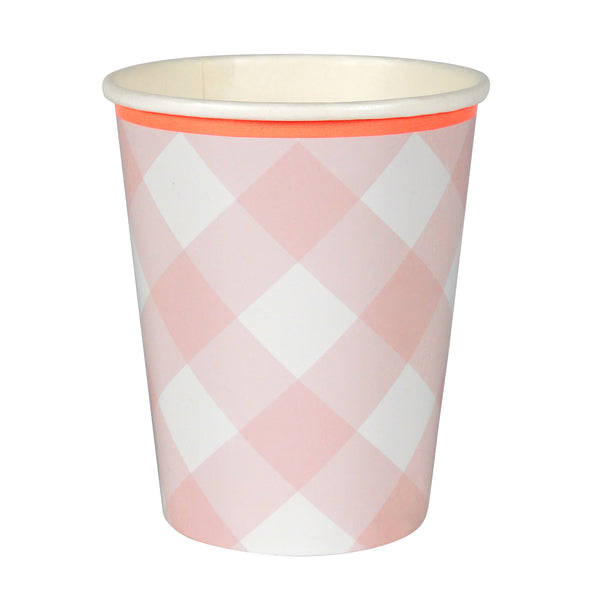 Pink Gingham Party Cups