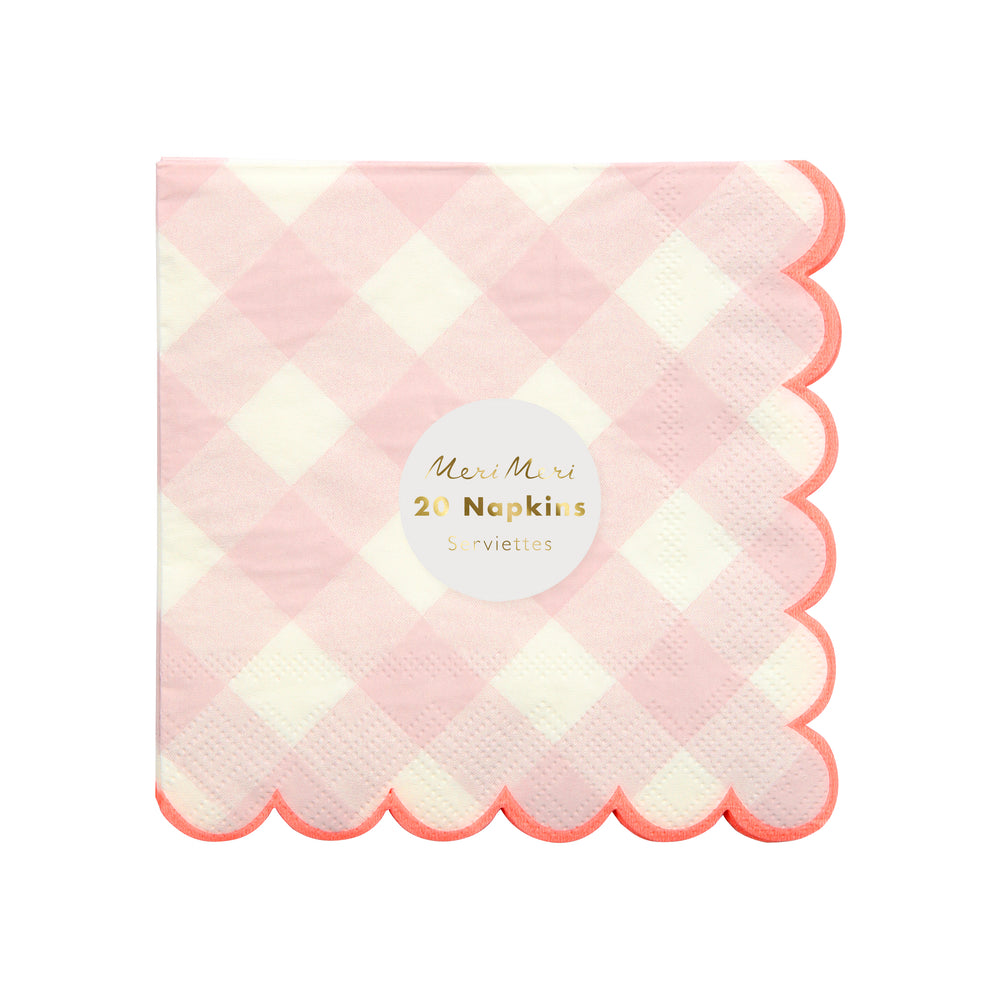 Pink Gingham Napkins - Small