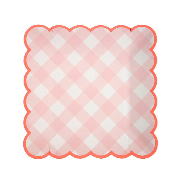 Pink Gingham Plate - Small