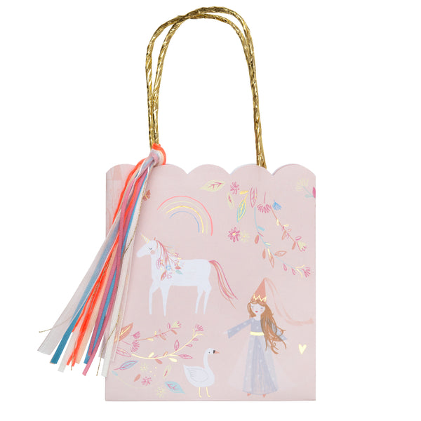 Magical princess party and favor bags. Treat your guest like royalty with these sweet bags with a whimsical print featuring a princess,unicorn,swan,flowers and metallic gold handle and lot's of pretty ribbons. Pack of 8 party bags