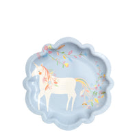 Magical princess party plate in a pastel periwinkle blue with a white unicorn. perfect size for treats and cake. Pack of eight plates for $5.50