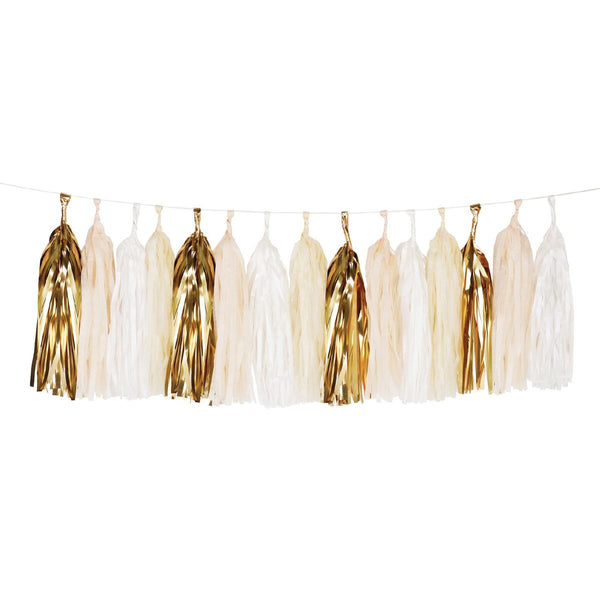Do it your self garland kit. Tissue is pre-cut and twine for hanging is included. Metallic gold,cream and champagne colored tissue for tassels. Made in France.