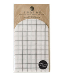 glassine windowpane print food safe gift & treat bags measures 3.25 x 4.25 inches