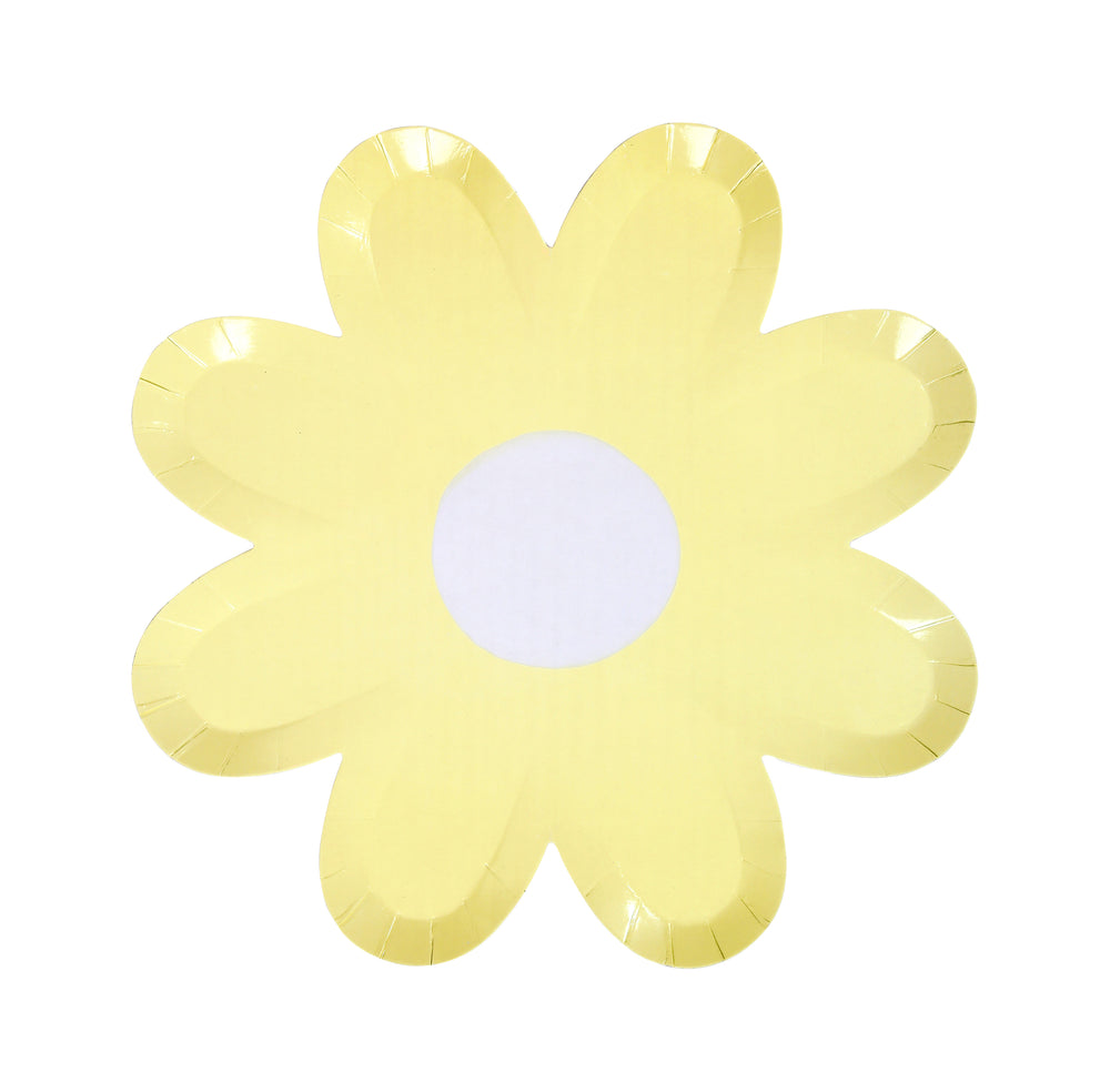 daisy plate in pastel yellow with a white center, large plate