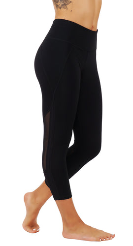 Yoga leggings with mesh cut outs and zippered back key pocket