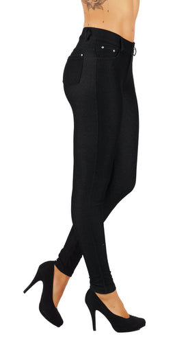 Women's Jean Look Cotton Blend Jeggings Pull up Tights Slimming FD827