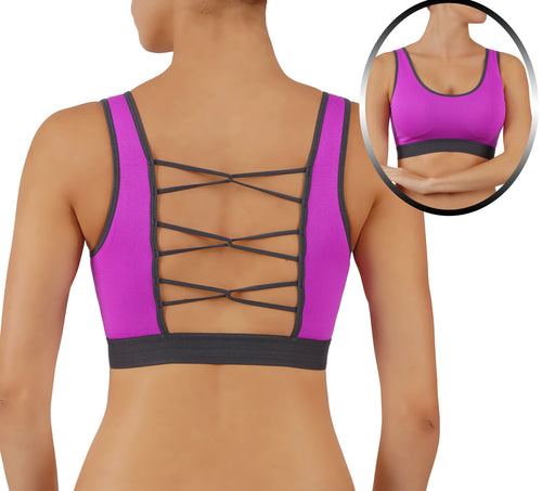 Yoga Top Sports Bra High Impact RunningCrop Top Loop Criss CROS Back