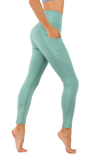 Yoga Pants Power Flex Pockets Both Side Leg, Exposed Back Key Zipper Full Length Leggings
