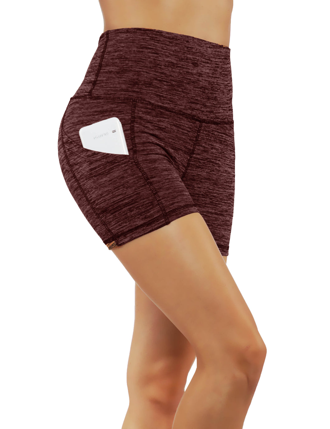 Light Material High Elastic Waistband Yoga Shorts With Deep Side Pockets