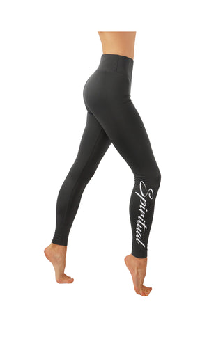 CodeFit Yoga Power Flex Dry-Fit Side Word Printed Compression Pants Workout