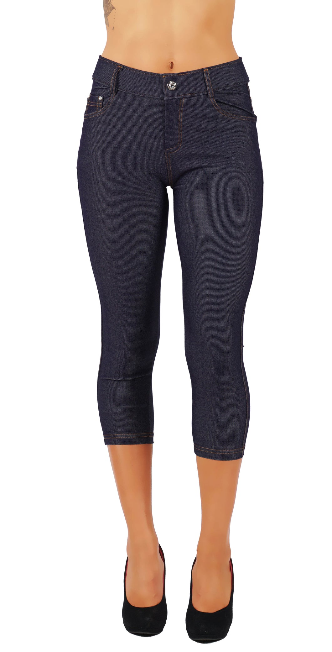 Fit Division Women's Jean Look Cotton Blend Jeggings Pull up Tights Slimming Capri FD817