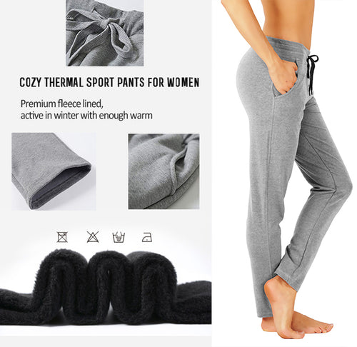 Women's Extra Soft Warm Fleece Lined Pants Open Bottom Cotton Sweatpants Athletic Joggers