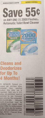 $.55/1 2000 Flushes Automatic Toilet Bowl Cleaner EXP 12/8/19 (SS 9-8)