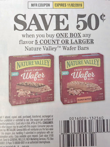 $.50/1 Nature Valley Wafer Bars EP 11/2/19 (SS 9-8)
