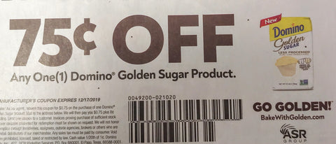 $.75/1  Domino Golden Sugar Product EXP 12/17/19 (SS 9-8)