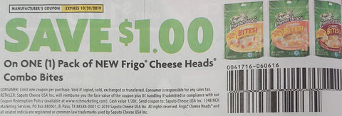 $1/1 NEW Frigo Cheese Heads Combo Bites  EXP 10/20/19 (SS2 9-8)