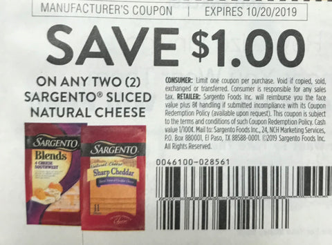$1/2 Sargento Sliced Natural Cheese EXP 10/20/19 (SS 8-25)