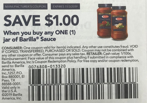 $1/1 jar of Barilla Sauce EXP 11/3/19 (RMN2 9-8)