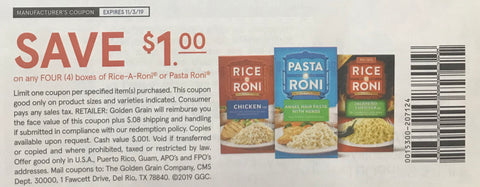 $1/4 boxes of Rice-A-Roni or Pasta Roni EXP 11/3/19 (SS 9-22)