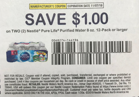 $1/2 Nestle Pure Life Purified Water 8oz 12-pack or larger EXP 11/7/19 (RMN2 9-8)