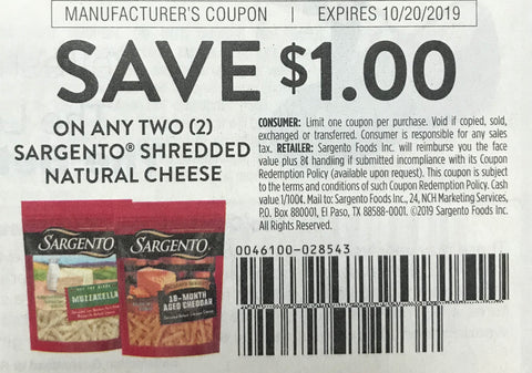 $1/2 Sargento Shredded Natural Cheese EXP 10/20/19 (SS 8-25)