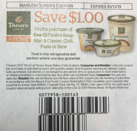 $1/1 Panera Soup, Mac&Cheese, Chili, Pasta or Stew EXP 10/13/19 (SS2 9-8)