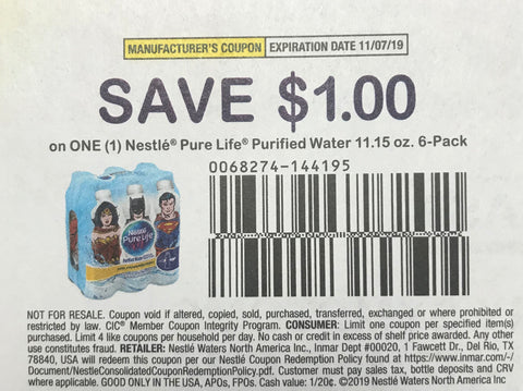 $1/1 Nestle Pure Life brand Water 11.15 oz 6-pack EXP 11/7/19 (RMn2 9-8)