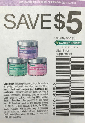 photograph relating to Nature's Bounty Coupon Printable $5 known as RetailMeNot2 6-9