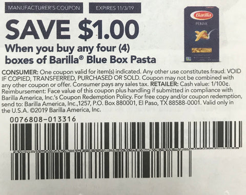 $1/4 Barilla Blue Box Pasta EXP 11/3/19 (RMN2 9-8)