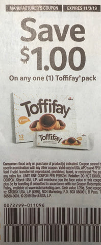 $1/1 Toffifay pack EXP 11/3/19 (SS2 9-8)