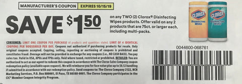 $1.50/2 Clorox Disinfecting Wipes products EXP 10/15/19 (SS 9-15)