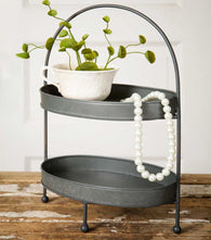 RUSTIC METAL 2 TIER DISPLAY TRAY - Avenue of Oaks Decor