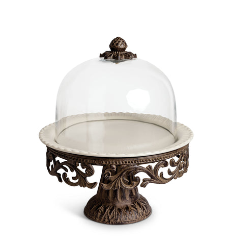 "The GG Collection Gracious Goods 16""H Acanthus Leaf Cake Pedestal with Glass Covered Dome - Avenue of Oaks Decor"