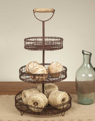 RUSTIC WIRE 3-TIER STAND WITH WOODEN HANDLE - Avenue of Oaks Decor