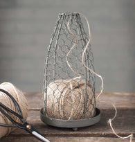 CHICKEN WIRE CLOCHE WITH JUTE - Avenue of Oaks Decor